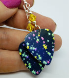 Starry Guitar Pick Earrings with Yellow Swarovski Crystals