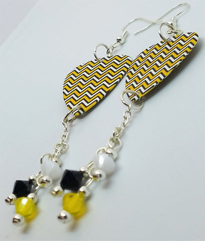 Yellow, White and Black Chevron Guitar Pick Earrings with Swarovski Crystal Dangles