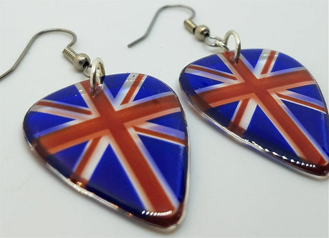 Transparent British Flag Guitar Pick Earrings