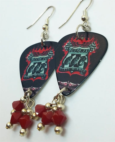 Dragway 666 Vulture Kulture Guitar Pick Earrings with Red Swarovski Crystal Dangles