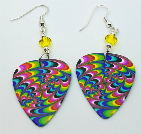 Swirled MultiColored Guitar Pick Earrings with Yellow Swarovski Crystals