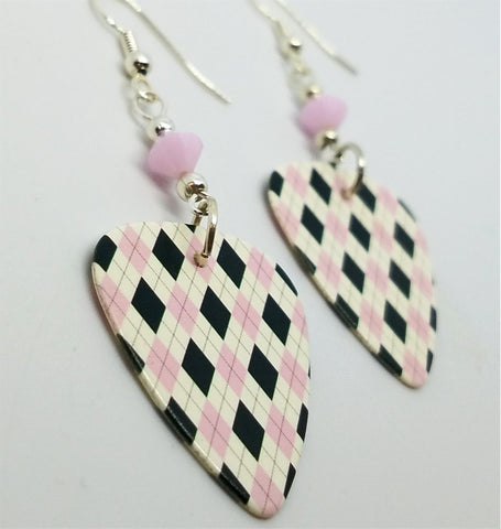 Pink, Black and White Argyle Guitar Pick with Pink Alabaster Swarovski Crystals