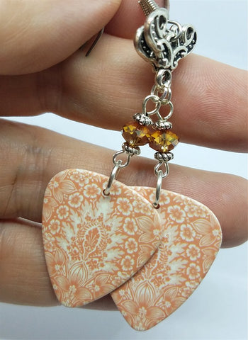 Peach Colored Floral Guitar Pick Earrings with Brown Swarovski Crystal Rondelles