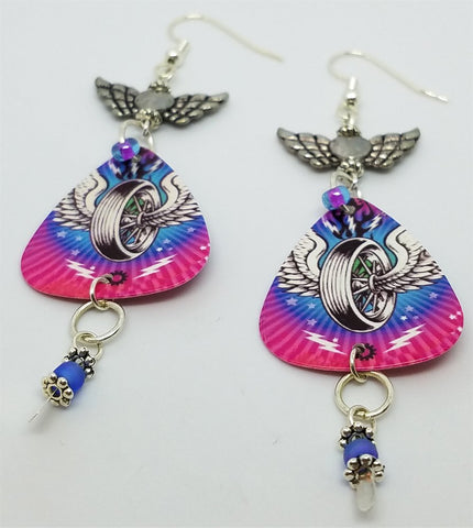 Winged Tire Guitar Pick Earrings with Winged Heart Connectors and Glass Seed Beads