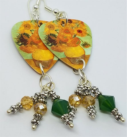Van Gogh Sunflowers Guitar Pick Earrings with Swarovski Crystal Dangles