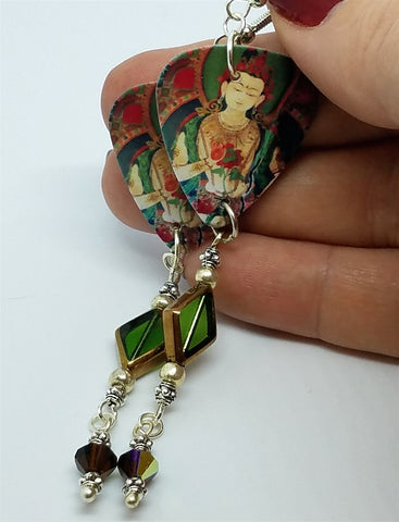 Buddhist Artwork Guitar Pick Earrings with Dangles