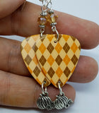 Orange and Brown Argyle Guitar Guitar Pick Earrings with Swarovski Crystals and Pumpkin Charm Dangles