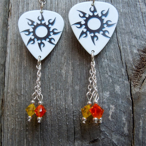 Tribal Sun Guitar Pick Earrings with Bright Swarovski Crystal Dangles