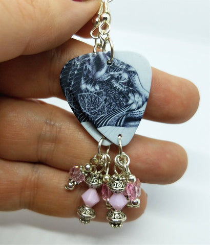 Cougar Guitar Pick Earrings with Pink Swarovski Crystal Dangles