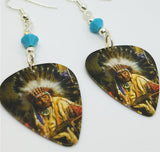 Native American with Headdress Guitar Pick Earrings with Turquoise Colored Swarovski Crystals