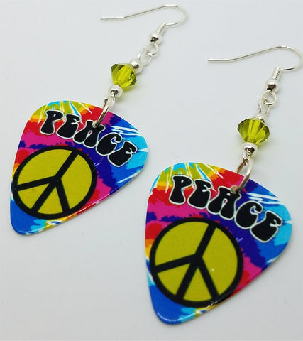 Tie Dye Peace Sign Guitar Pick Earrings with Green Swarovski Crystals