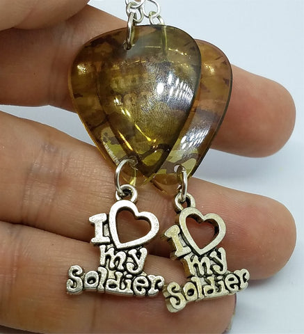 Support Our Troops Camo Guitar Pick Earrings with I Love My Soldier Charm Dangles
