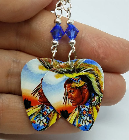 Native American with Headdress Guitar Pick Earrings with Blue Swarovski Crystals