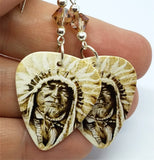 Sepia Native American with Headdress Guitar Pick Earrings with Copper Swarovski Crystals