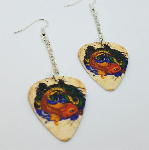 Koi Fish and Dragon Dangling Guitar Pick Earrings