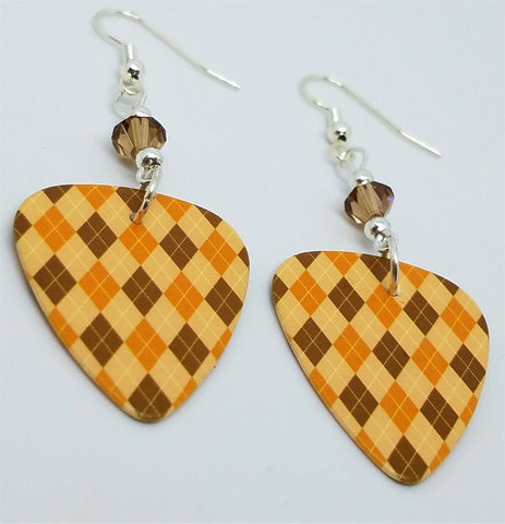 Autumnal Brown and Orange Argyle Guitar Pick with Smoked Topaz Swarovski Crystals