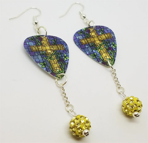 Yellow Cross on Stained Glass Guitar Pick Earrings with Pale Yellow Pave Bead Dangles