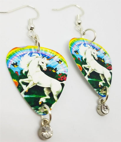 Unicorn Under a Rainbow Guitar Pick Earrings with Clear Crystal Charm Dangles