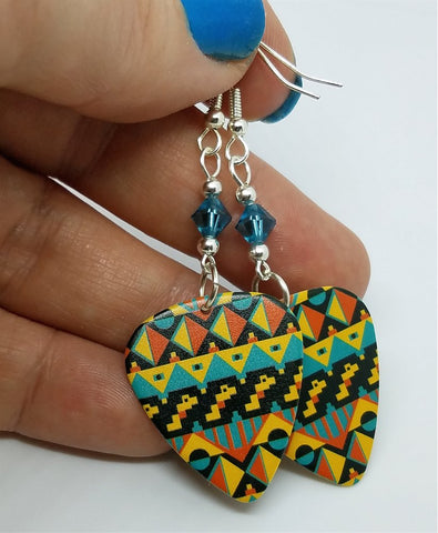 MultiColor Aztec Tribal Print Guitar Pick Earrings with Blue Swarovski Crystals