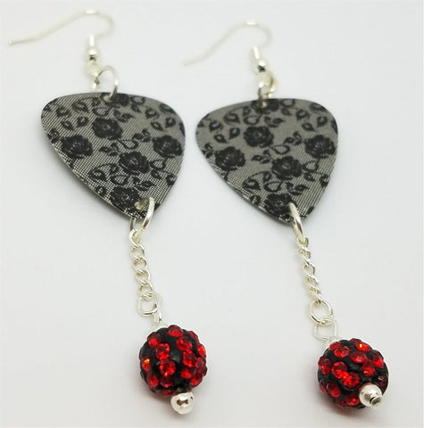 Black Lace Roses Guitar Pick Earrings with Black and Red Pave Bead Dangles