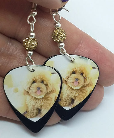 Tan Fluffy Poodle Guitar Pick Earrings with Tan Pave Beads