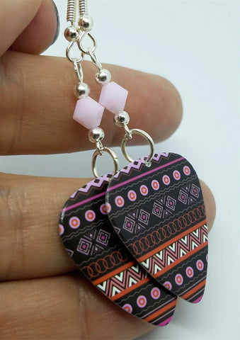 Pink and Black Patterned Guitar Pick Earrings with Pink Alabaster Swarovski Crystals
