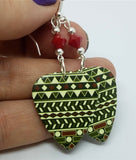 Green, Red and Off White Tribal Print Guitar Pick Earrings with Red Swarovski Crystals
