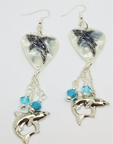 Tribal Shark White MOP Guitar Pick Earrings with Swarovski Crystal and Silver Charm Dangles