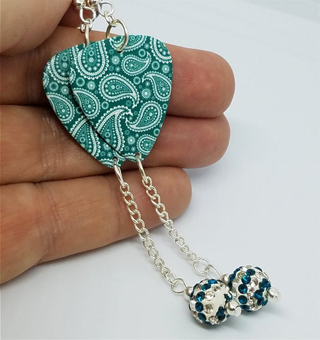 Teal Paisley Guitar Pick Earrings with Teal and White Striped Pave Bead Dangles