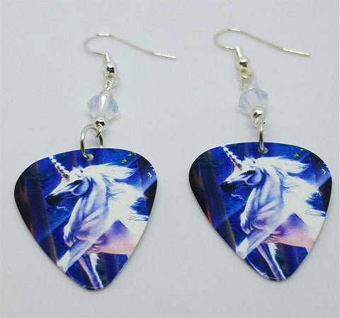 Unicorn with Prisms of Light Guitar Pick Earrings with Opal Swarovski Crystals