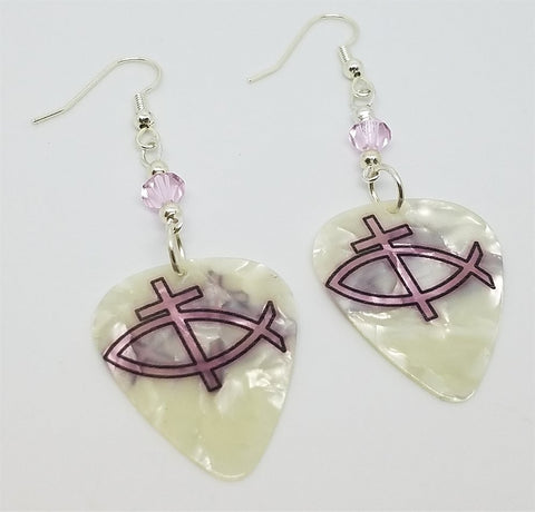 Christian Fish and Cross Guitar Pick Earrings with Pink Swarovski Crystals