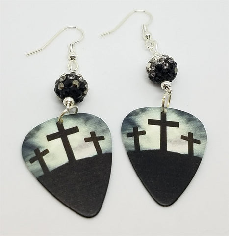 Three Crosses Guitar Pick Earrings with Black Ombre Pave Beads