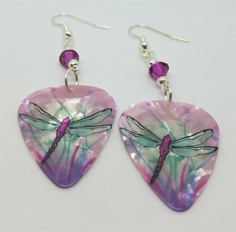 Dragonfly Guitar Pick Earrings with Fuchsia Swarovski Crystals
