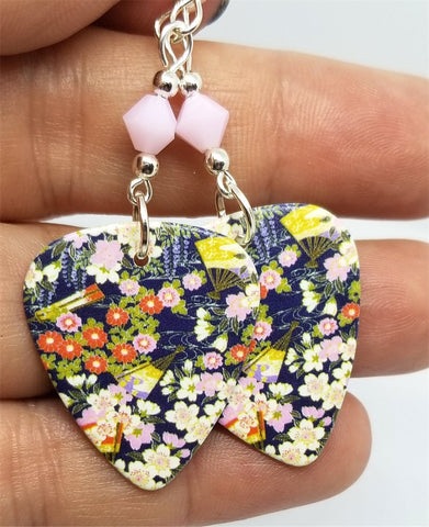 Flowered Origami Paper Style Guitar Pick Earrings with Pink Alabaster Swarovski Crystals