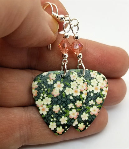 Flowered Guitar Pick Earrings with Peach Swarovski Crystals