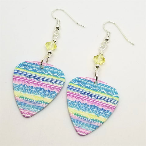 Pastel Tribal Patterned Guitar Pick Earrings with Pale Yellow Swarovski Crystals
