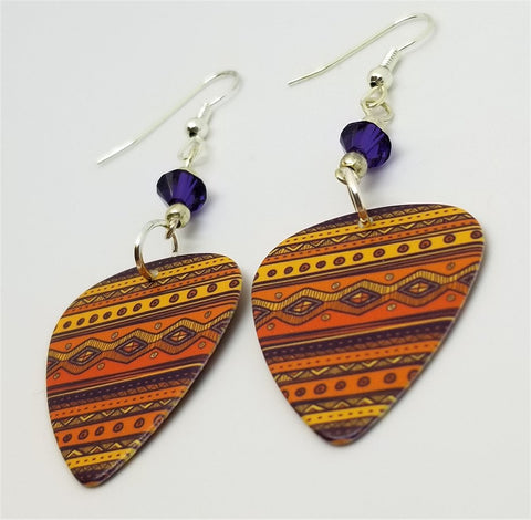 Orange and Purple Tribal Patterned Guitar Pick Earrings with Purple Swarovski Crystals