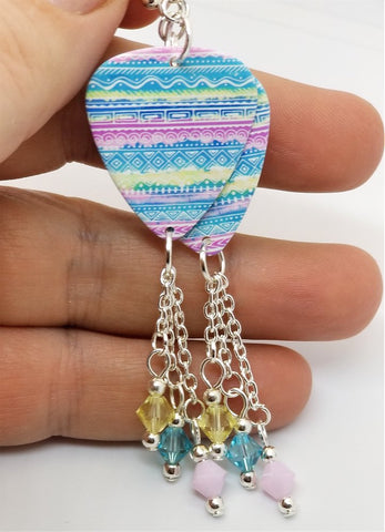 Pastel Tribal Patterned Guitar Pick Earrings with Swarovski Crystal Dangles
