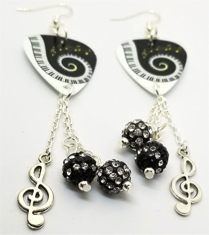Piano Keys and Sheet Music Guitar Pick Earrings with Clef Charm and Pave Bead Dangles