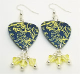 Yellow Floral Pattern on Blue Guitar Pick Earrings with Pale Yellow Swarovski Crystal Dangles