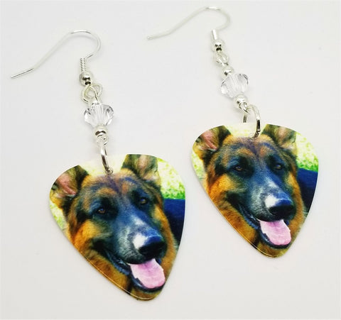 German Shepherd Guitar Pick Earrings with Clear Swarovski Crystals