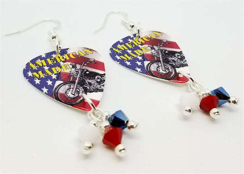 American Made Motorcycle Guitar Pick Earrings with Swarovski Crystal Dangles