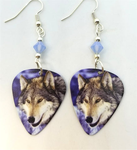 Winter Wolf Guitar Pick Earrings with Air Opal Swarovski Crystals