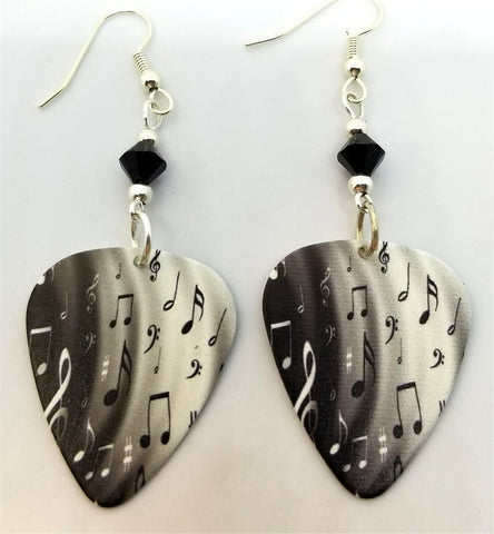 Black and White Music Notes Guitar Pick Earrings with Black Swarovski Crystals