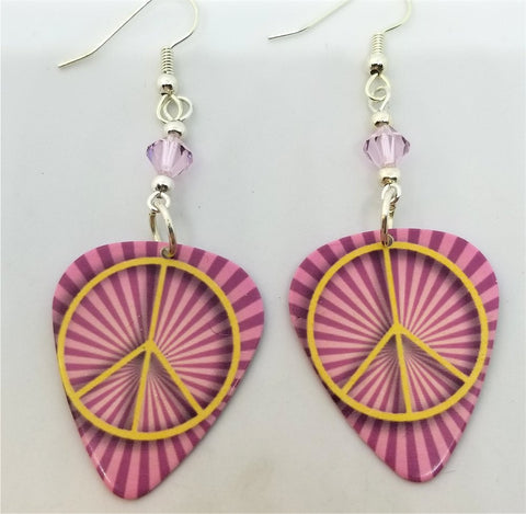 Yellow Peace Sign on Pink Striped Background Guitar Pick Earrings with Pink Swarovski Crystals