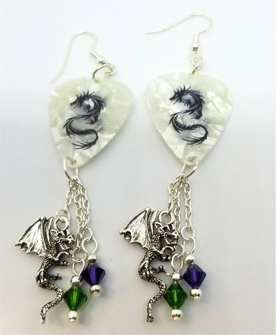 Tribal Dragon White MOP Guitar Pick Earrings with Charm and Swarovski Crystal Dangles