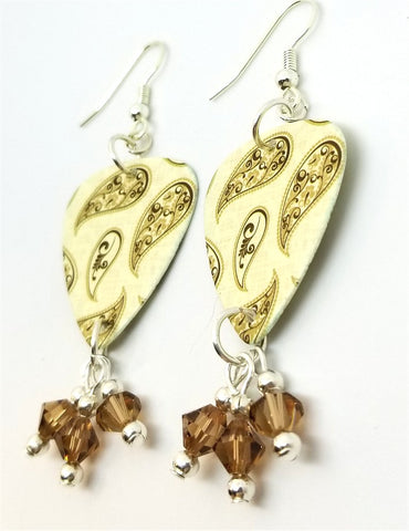 Brown Paisley Guitar Pick Earrings with Smoked Topaz Swarovski Crystal Dangles