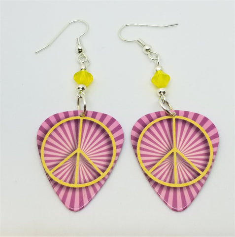 Yellow Peace Sign on Pink Striped Background Guitar Pick Earrings with Yellow Swarovski Crystals