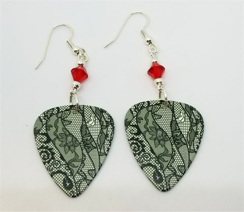 Black Lace Flowers Guitar Pick Earrings with Red Swarovski Crystals