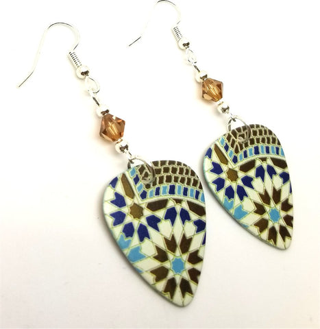 Blue and Brown Mosaic Tile Style Print Guitar Pick Earrings with Smoked Topaz Swarovski Crystals
